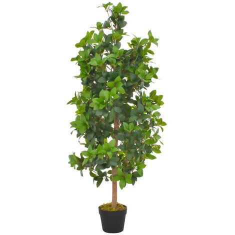 vidaXL Planta artificial árbol de laurel con macetero 120 cm verde - Multicolore