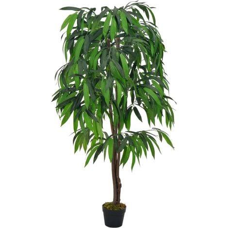 vidaXL Planta artificial árbol de mango con macetero verde 140 cm - Verde