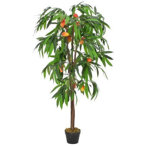 vidaXL Planta artificial arbol de mango con macetero verde 150 cm