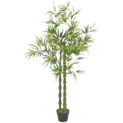 vidaXL Planta artificial bamb¨² con macetero 160 cm verde