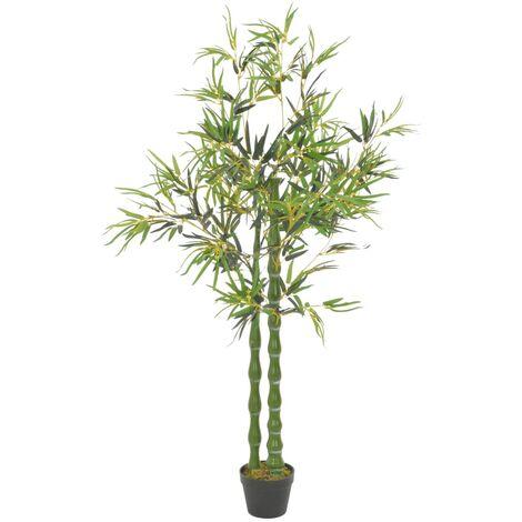 vidaXL Planta artificial bambú con macetero 160 cm verde - Verde