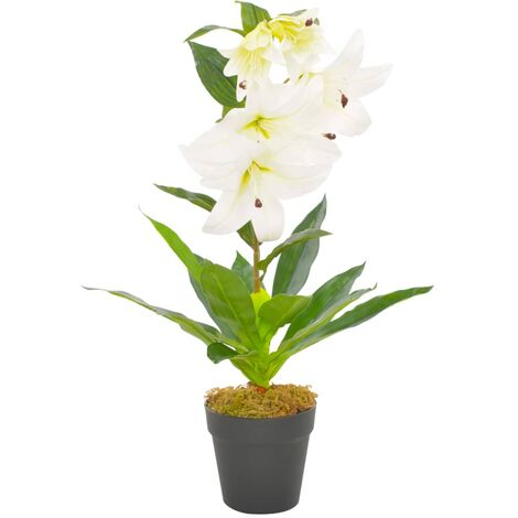 vidaXL Planta artificial lirio con macetero 65 cm blanca - Blanco