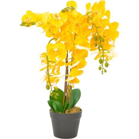 vidaXL Planta artificial orquídea con macetero 60 cm amarilla - Verde