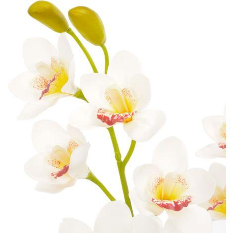 vidaXL Planta artificial orquidea con macetero 90 cm blanca