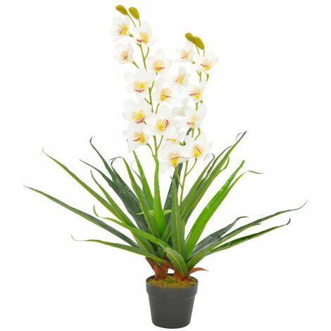 vidaXL Planta artificial orquídea con macetero 90 cm blanca - Blanco