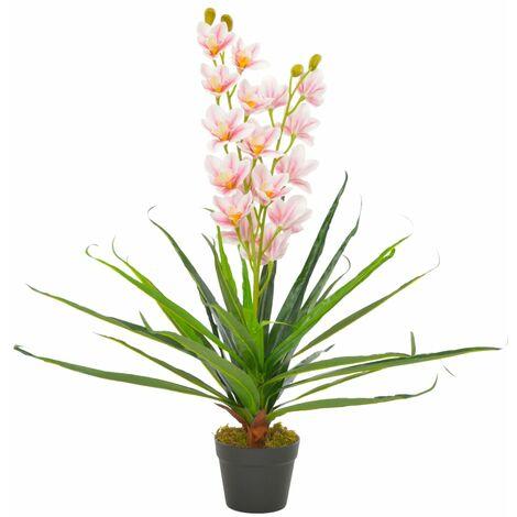 vidaXL Planta artificial orquídea con macetero 90 cm rosa - Verde