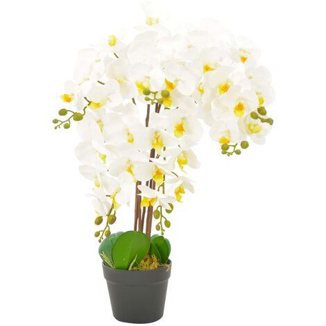 vidaXL Planta artificial orquídea con macetero blanco 60 cm - Blanco