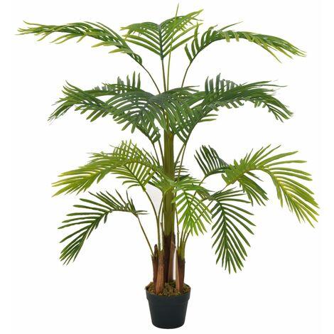 vidaXL Planta artificial palmera con macetero 120 cm verde - Verde