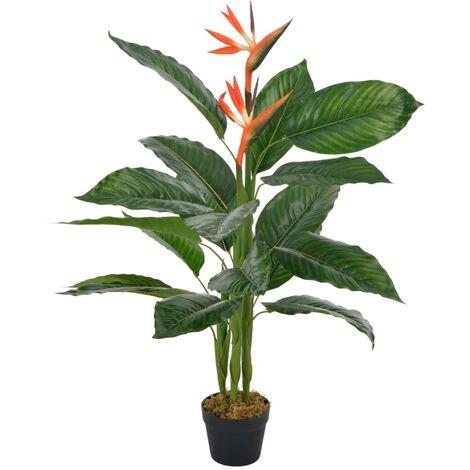 vidaXL Planta artificial strelitzia con macetero rojo 100 cm - Rojo