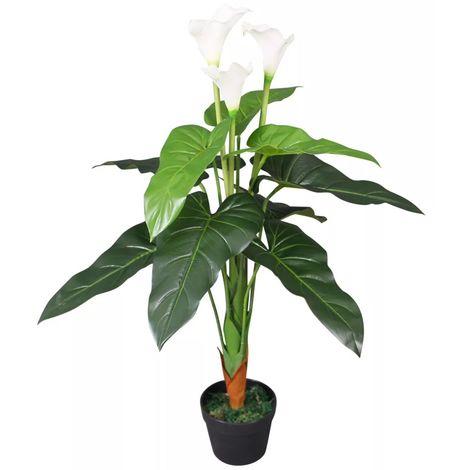 vidaXL Planta cala lilly artificial con macetero 85 cm blanca