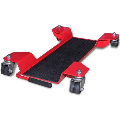 vidaXL Plataforma rodante dolly para motocicletas roja