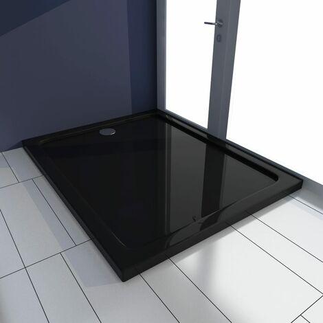 vidaXL Plato de ducha ABS negro 80x100 cm - Negro
