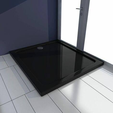 vidaXL Plato de ducha ABS negro 80x90 cm - Negro