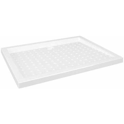 vidaXL Plato de ducha con puntos ABS blanco 90x70x4 cm - Blanco