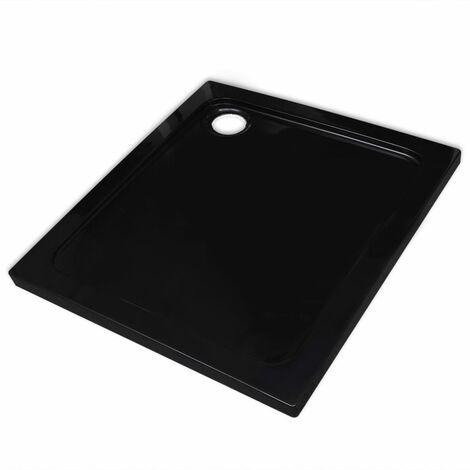 vidaXL Plato de ducha cuadrado de ABS negro 80x80 cm - Negro