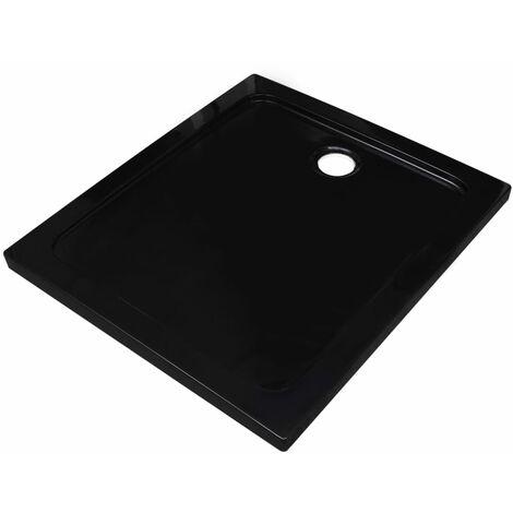 vidaXL Plato de ducha rectangular ABS negro 80x90 cm - Negro