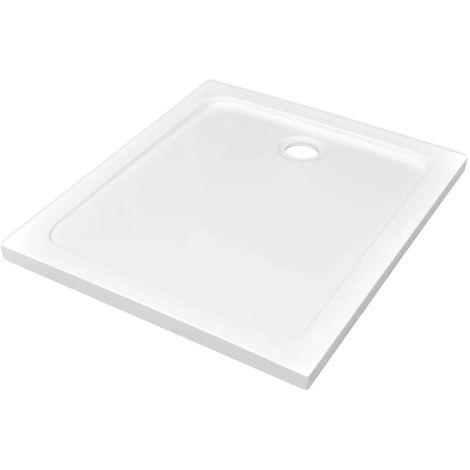 vidaXL Plato de ducha rectangular de ABS blanco 80x90 cm - Blanco