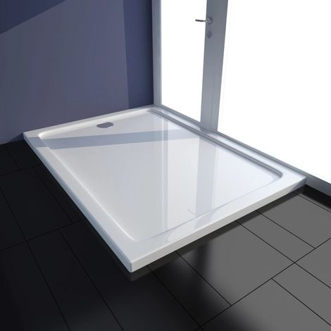 VidaXL Plato de ducha rectangular de ABS, color blanco, 80 x 110 cm