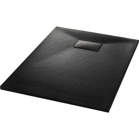 vidaXL Plato de ducha SMC negro 100x70 cm - Negro