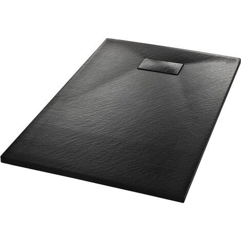 vidaXL Plato de ducha SMC negro 100x80 cm - Negro