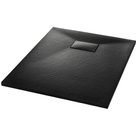 vidaXL Plato de ducha SMC negro 90x70 cm - Negro