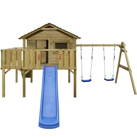 vidaXL Playhouse Set with Ladder, Slide and Swings 480x440x294 cm Wood - Brown