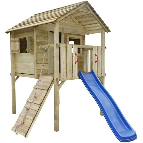"""main image of """"vidaXL Playhouse Set with Slide and Ladder 360x255x295 cm Wood - Brown"""""""