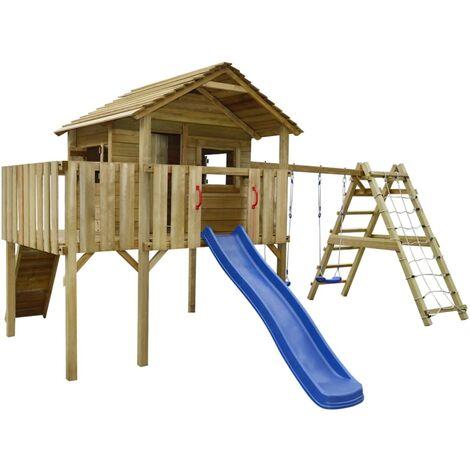 "main image of ""vidaXL Playhouse with Climbing Net, Slide, Swings 560x440x294 cm Wood - Brown"""