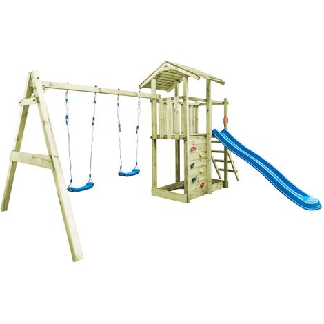 vidaXL Playhouse with Ladder, Slide and Swings 471x356x265 cm Wood - Brown