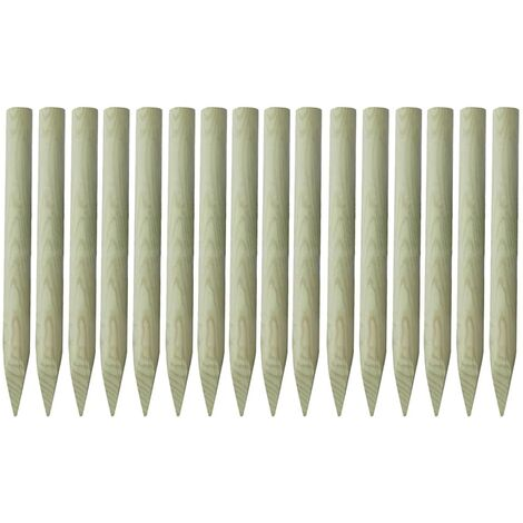 vidaXL Pointed Fence Posts 16 pcs Impregnated Wood 100 cm - Green