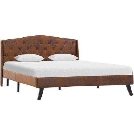 vidaXL Polsterbett Doppelbett Bett Bettgestell Bettrahmen Lattenrost Schlafzimmerbett Schlafzimmermöbel Braun Wildleder-Optik mehrere Auswahl