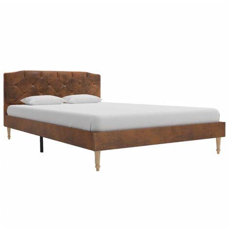 vidaXL Polsterbett Klassisch Bett Bettgestell Bettrahmen mit Lattenrost Doppelbett Ehebett Schlafzimmerbett Braun Wildleder-Optik mehrere Auswahl