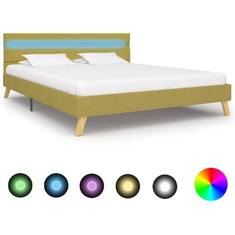 vidaXL Polsterbett mit LED Doppelbett Bett Stoffbett Schlafzimmerbett Ehebett Bettgestell Bettrahmen Lattenrost Stoff mehrere Auswahl
