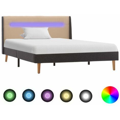 vidaXL Polsterbett mit LED Doppelbett Stoffbett Bett Bettgestell Bettrahmen Lattenrost Schlafzimmerbett Schlafzimmermöbel Stoff mehrere Auswahl