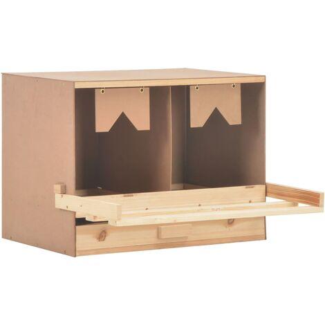vidaXL Ponedero para gallinas 2 compartimentos madera pino 63x40x45 cm