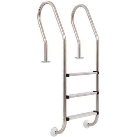 vidaXL Pool Ladder 3 Steps Stainless Steel 120 cm - Silver