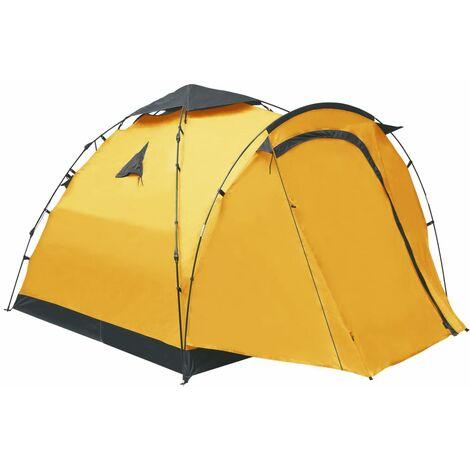 vidaXL Pop Up Camping Tent 3 Person Yellow - Yellow