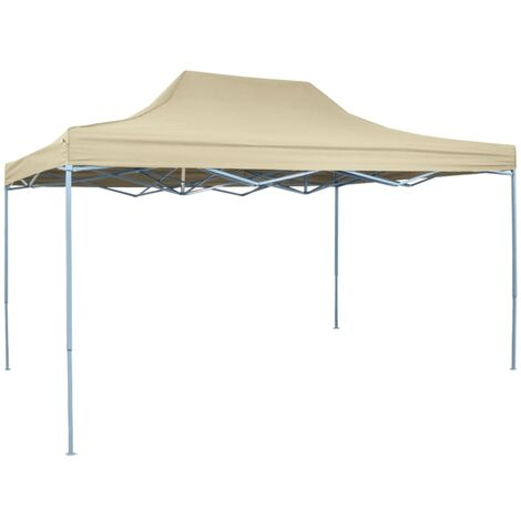 Foldable Tent Pop-Up 3x4.5 m Cream White