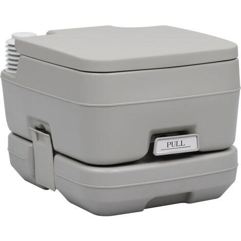 vidaXL Portable Camping Toilet Grey 10+10 L - Grey