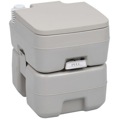 vidaXL Portable Camping Toilet Grey 20+10 L - Grey