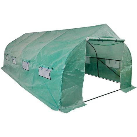 vidaXL Portable Polytunnel Greenhouse Steel Frame Walk-in 18 m² - Green