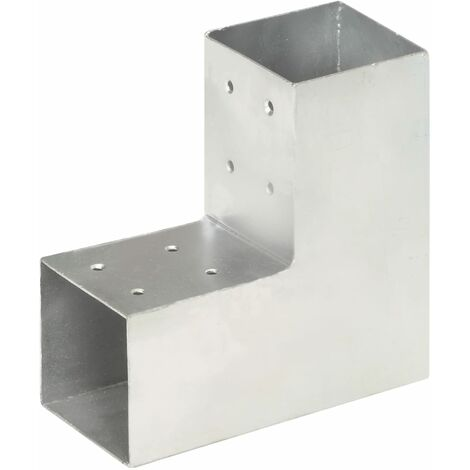 vidaXL Post Connector L Shape Galvanised Metal 81x81 mm - Silver