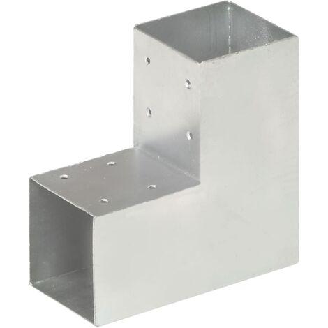 vidaXL Post Connector L Shape Galvanised Metal 91x91 mm - Silver