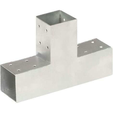 vidaXL Post Connector T Shape Galvanised Metal 71x71 mm - Silver