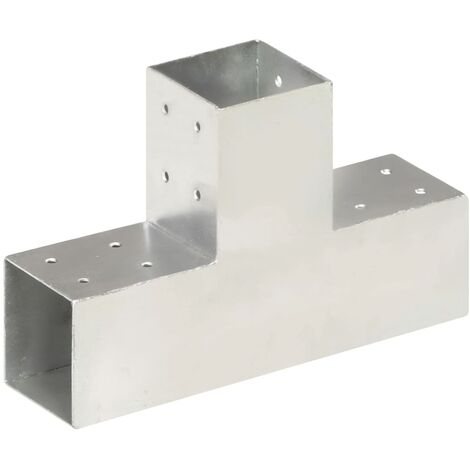 vidaXL Post Connector T Shape Galvanised Metal 81x81 mm - Silver