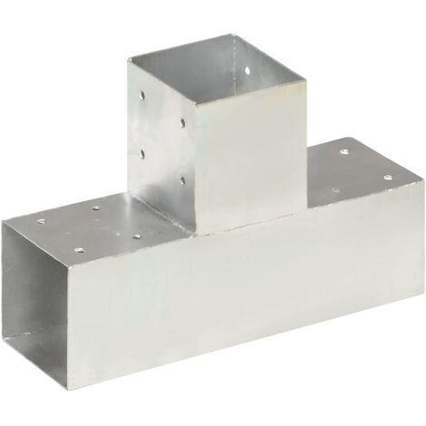 vidaXL Post Connector T Shape Galvanised Metal 91x91 mm - Silver