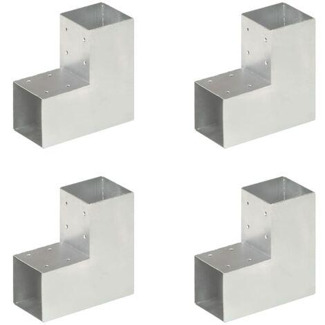 vidaXL Post Connectors 4 pcs L Shape Galvanised Metal 91x91 mm - Silver