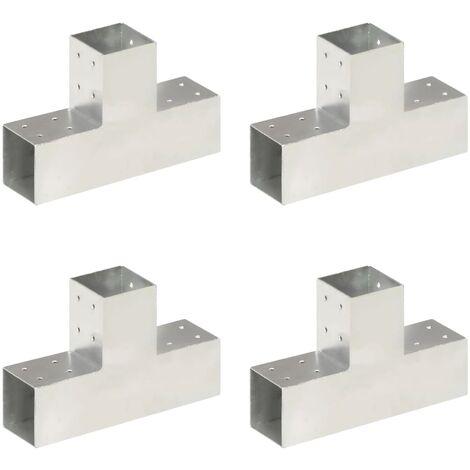 vidaXL Post Connectors 4 pcs T Shape Galvanised Metal 81x81 mm - Silver