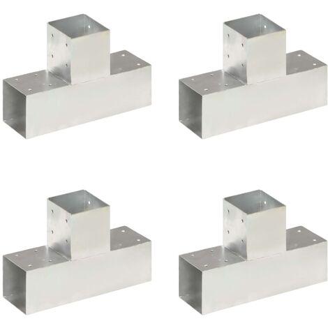 vidaXL Post Connectors 4 pcs T Shape Galvanised Metal 91x91 mm - Silver
