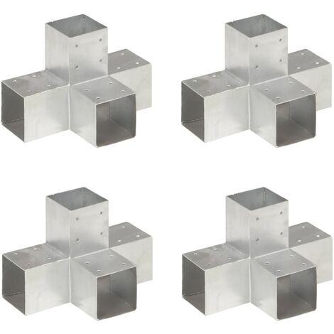 vidaXL Post Connectors 4 pcs X Shape Galvanised Metal 91x91 mm - Silver